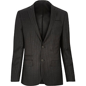 Dark grey pin stripe skinny suit jacket