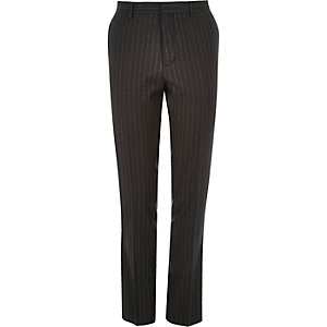 Dark grey pin stripe skinny suit pants