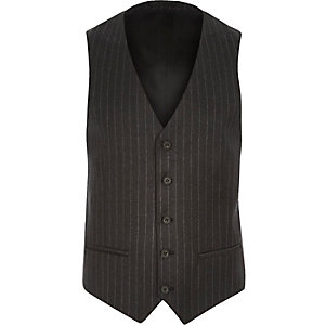 Dark grey pin stripe suit skinny vest