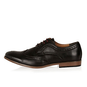 Black color block sole brogues