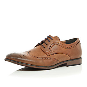 Brown color block sole brogues