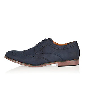 Navy color block sole brogues