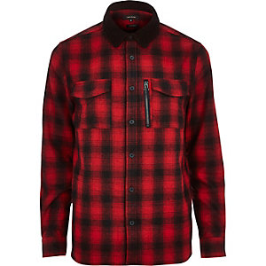 Red check flannel shirt jacket