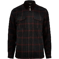 Black check flannel shirt jacket