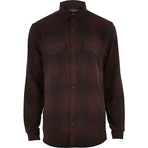 Dark purple check soft flannel shirt