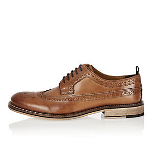 Medium brown leather brogues