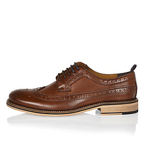 Dark brown leather derby brogues