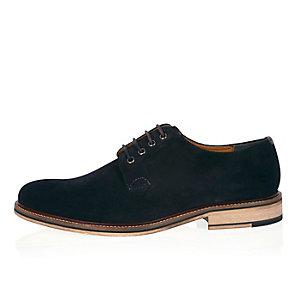 Navy suede color block shoes