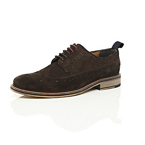 Dark brown suede derby brogues