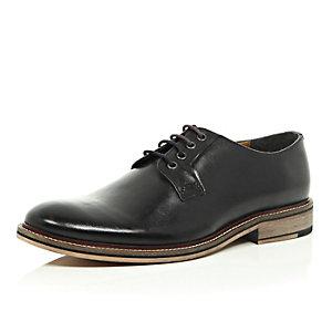 Black leather color block heel derby shoes