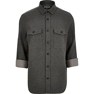 Grey flannel two pocket overshirt