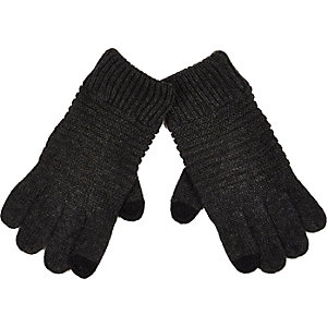 Grey knitted ribbed touch screen gloves
