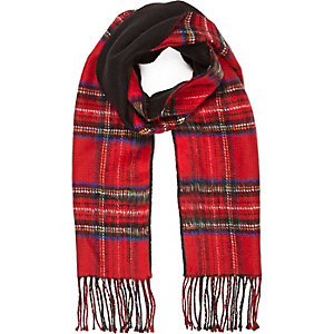 Red plaid pattern reversible scarf