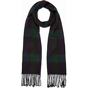 Navy check tassel scarf