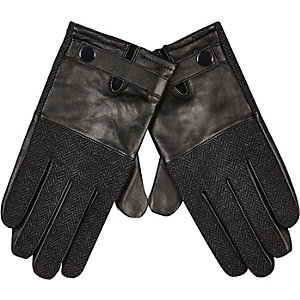 Black leather herringbone gloves