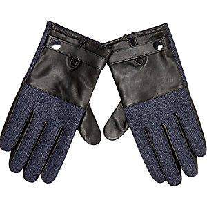 Navy leather herringbone gloves