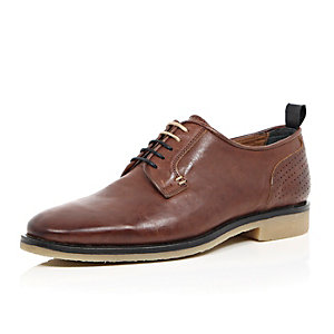Brown leather perforated crepe sole shoes