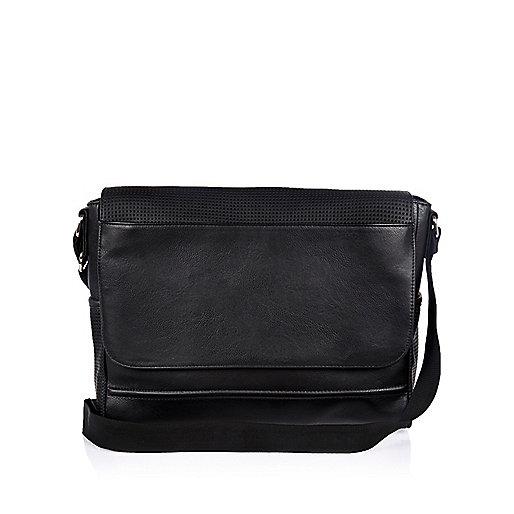 Black perforated flapover shoulder bag