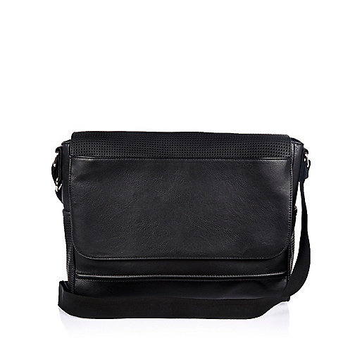 Black perforated flapover shoulder bag