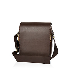 Dark brown structured cross body bag