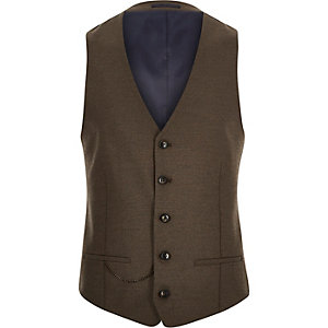 Brown tailored slim suit waistcoat