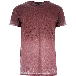 Red faded paisley print t-shirt