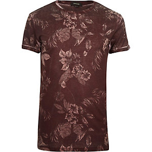 Rust floral washed print t-shirt