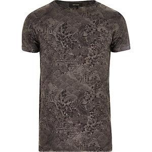 Grey Oriental floral print t-shirt