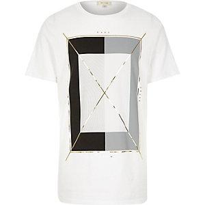 White graphic square foil print t-shirt
