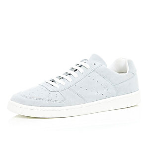 Light blue suede perforated trainers