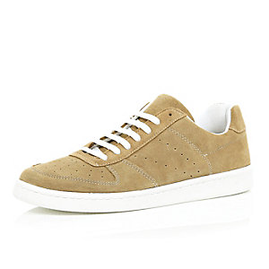 Brown suede perforated trainers