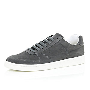 Grey suede perforated trainers