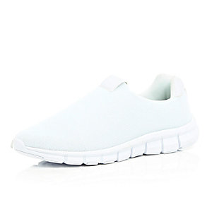 White mesh slip on trainers