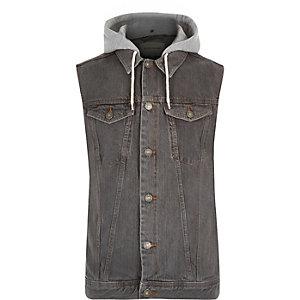 Grey denim hooded vest