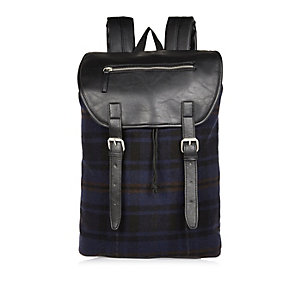 Navy check buckle backpack