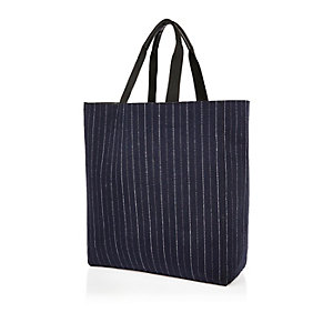 Navy pin stripe reversible shopper bag