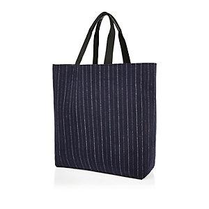 Navy pin stripe reversible shopper