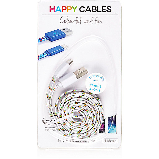 White happy iPhone 6 cable