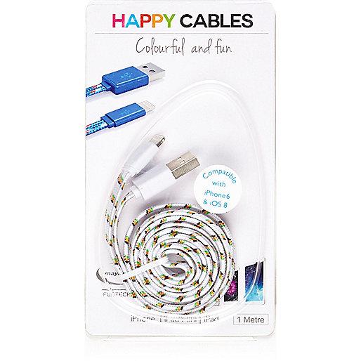 Câble pour iPhone 6 blanc imprimé Happy