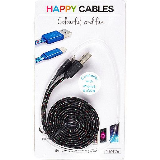 Câble pour iPhone 6 noir imprimé Happy