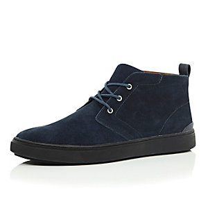 Navy suede lace-up sneaker boots
