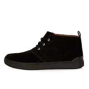 Black suede lace-up sneaker boots