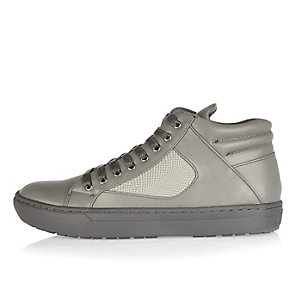 Grey textured high top sneakers
