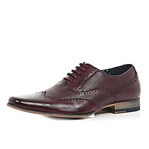 Dark red leather smart lace-up formal shoes