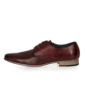 Dark red embossed leather formal shoes