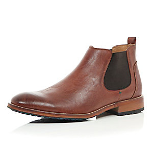 Brown color sole Chelsea boots