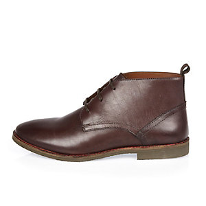 Dark red leather chukka boots