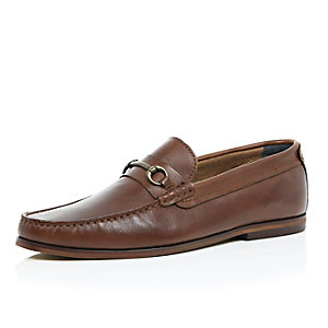 Brown leather horsebit loafers