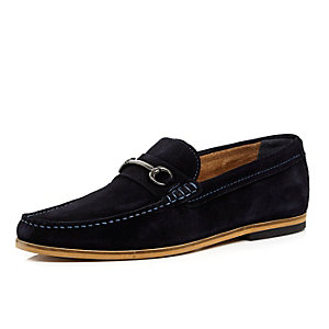 Navy suede horsebit loafers