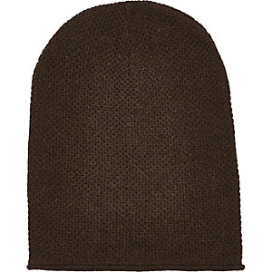 Dark brown rolled edge beanie hat